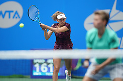 WUHAN, Sept. 28, 2018  Elise Mertens (L) of Belgium and Demi Schuurs of the Netherlands compete during the doubles semifinal match against Shuko Aoyama of Japan and Lidziya Marozava of Belarus at the 2018 WTA Wuhan Open tennis tournament in Wuhan, central China's Hubei Province, on Sept. 28, 2018. Elise Mertens and Demi Schuurs won 2-1. (Credit Image: © Cheng Min/Xinhua via ZUMA Wire)