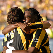 WELLINGTON, NEW ZEALAND - March 7:  Goal scorer Eugene Dadi celebrates his winning goal with Diego during the A-League Minor Semi Final between Wellington Phoenix and Newcastle Jets, on Sunday March 7th, 2010 at Westpac Stadium in Wellington, New Zealand. The Phoenix won 3-1 after extra time, to progress to the Major Semi Final. (Photo: Paul J Roberts / ImageSport NZ)
