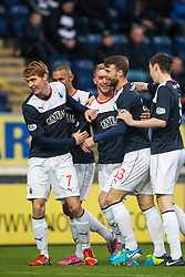 Falkirk's Craig Sibbald celebrates with team mates after scoring their first goal.<br /> Falkirk 3 v 1 Raith Rovers, Scottish Championship game at The Falkirk Stadium.