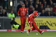 Lancashires Alex Davies scoops the ball up during the Vitality T20 Blast North Group match between Lancashire County Cricket Club and Yorkshire County Cricket Club at the Emirates, Old Trafford, Manchester, United Kingdom on 20 July 2018. Picture by George Franks.