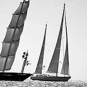 Maltese Falcon and Ethereal sailing during the St. Barth's Bucket 2011 race 1.