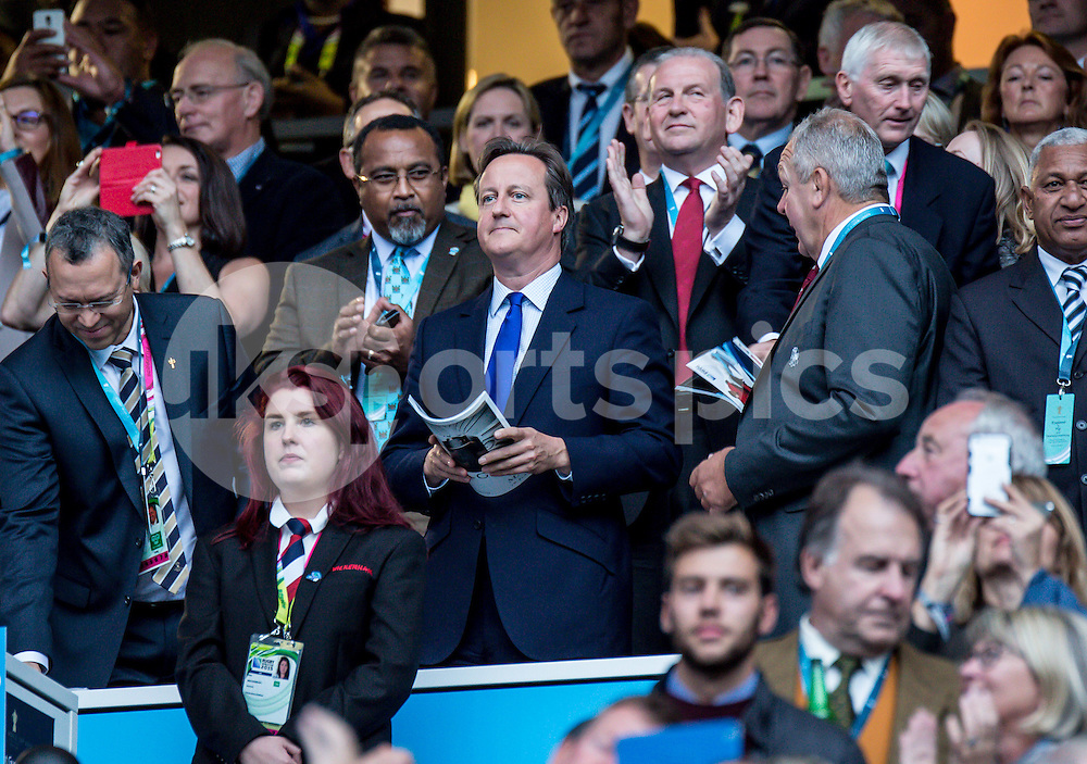 Prime Minister David Cameron during the opening ceremony at the Rugby World Cup 2015 Pool A match between England and Fiji played at Twickenham Stadium, London on 18 September 2015. Photo by Liam McAvoy.