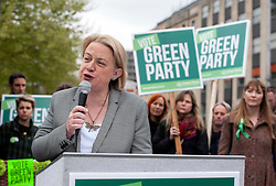 © Licensed to London News Pictures.  02/05/2015. Bristol, UK.  Natalie Bennett, Green Party Leader visiting the Bristol West constituency alongside Darren Hall, Green Party Candidate for Bristol West, at the giant ballot box in Bristol city centre.  The launch comes a week after the publication of the recent Lord Ashcroft poll, revealing a huge swing of 21% to the Green Party in this battleground seat which is the Green Party's no. 2 target seat in the general election.  A quarter of those polled intend to vote Green on May 7th 2015.  Photo credit : Simon Chapman/LNP