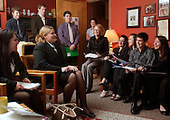 Pine Bush High School student Caitlin Hart, seated  second from left, talks to Assemblywoman Aileen Gunther, seated in front of lamp, in Gunther's Albany office on Monday, March 1, 2010. The students went to Albany to talk to local legislators about proposed school budget cuts.