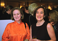 Left to right, LADY CELESTRIA NOEL and the HON.CAMILLA CECIL she is the new editor of Jennifer's Diary in Harpers & Queen, at a party in London on 14th January 1998.MEM 5