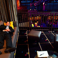 (PFEATURES) Atlantic City 10/23/2003  High Roller James Kwasnik exhausted rests in the private room of Club MIXX in the Borgata Hotel and Casino.  Michael J. Treola Staff Photographer....MJT