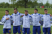 Bosnia players singing the national anthem during the UEFA European Under 17 Championship 2018 match between Bosnia and Republic of Ireland at Stadion Bilino Polje, Zenica, Bosnia and Herzegovina on 11 May 2018. Picture by Mick Haynes.