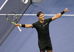 September 10, 2017 - Flushing Meadows, New York, U.S - Rafael Nadal wins the Championship match on Day Fourteen of the Men's 2017 US Open Final against Kevin Anderson at the USTA Billie Jean King National Tennis Center on Sunday September 10, 2017 in the Flushing neighborhood of the Queens borough of New York City. Nadal defeats Anderson, 6-3, 6-3, 6-4. JAVIER ROJAS/PI (Credit Image: © Prensa Internacional via ZUMA Wire)