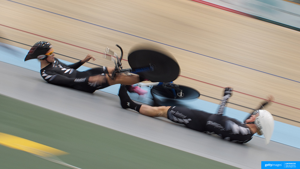 New Zealand U19 4000M team pursuits riders Mathew Zenovich (left) and Hamish Schreurs crash during the 2012 Oceania WHK Track Cycling Championships, Invercargill, New Zealand. 23rd November 2011. Photo Tim Clayton...