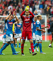 EDINBURGH, SCOTLAND - JULY 28: <br /> Napoli goalkeeper, Alex Meret, salutes the fans after his team beat Liverpool comfortably in the the Pre-Season Friendly match between Liverpool FC and SSC Napoli at Murrayfield on July 28, 2019 in Edinburgh, Scotland. (Photo by MB Media)