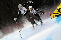 Filip Flisar and Matej Adorjan of Slovenia at FIS World Cup Ski cross race, on January 5, 2009 in St. Johann, Austria. (Photo by Grega Stopar)