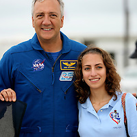 "Astronaut Mike Massimino (L) and his daughter Gabby visit the launch pad at the Kennedy Space Center Thursday, July 7, 2011, in Cape Canaveral, Fla. Massimino was the first astronaut to use ""Twitter"" to tweet from space. (AP Photo/Alex Menendez)"