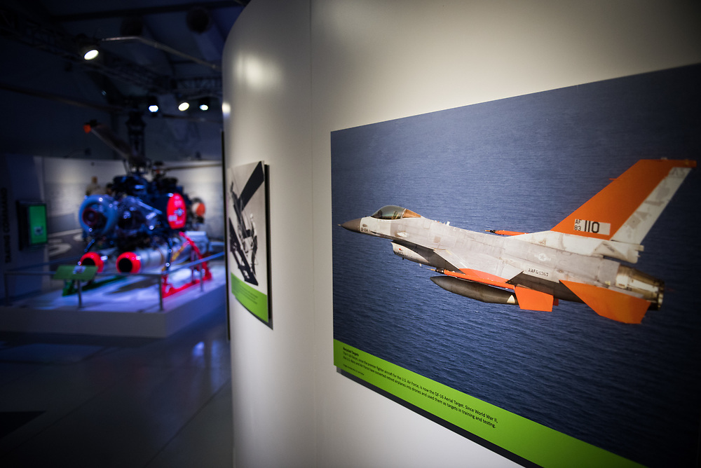 "30206010A - DRONES - A Boeing QF-16, converted from an F-16 fighter jet, is seen in a picture at the ""Drones: Is the Sky the Limit?"" exhibit at the Intrepid Sea, Air, and Space Museum in New York, NY on May 9, 2017."