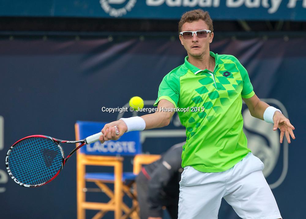Denis Istomin (UZB)<br /> <br /> Tennis - Dubai Duty Free Tennis Championships - ATP -   - Dubai -  - United Arab Emirates  - 23 February 2015. <br /> &copy; Juergen Hasenkopf