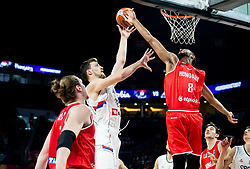 Ognjen Kuzmic of Serbia vs Adam Hanga of Hungary during basketball match between National Teams of Serbia and Hungary at Day 11 in Round of 16 of the FIBA EuroBasket 2017 at Sinan Erdem Dome in Istanbul, Turkey on September 10, 2017. Photo by Vid Ponikvar / Sportida