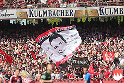 07.05.2011, easy Credit Stadion, Nuernberg, GER, 1. FC Nuernberg vs TSG 1899 Hoffenheim, im Bild:  Nuernberger Fans mit der Fahne von Marek Mintal (Nuernberg #11) .EXPA Pictures © 2011, PhotoCredit: EXPA/ nph/  news       ****** out of GER / SWE / CRO  / BEL ******