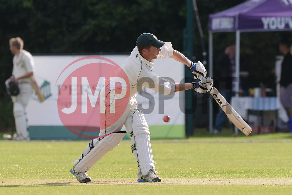 A Bishopston player bats during a game against Bristol Rugby - Photo mandatory by-line: Dougie Allward/JMP - Mobile: 07966 386802 - 29/07/2015 - SPORT - Cricket - Bristol - Westbury Fields - Bishopston CC v Bristol Rugby - Exhibition Game