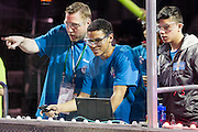 March 13, 2015 - New York, NY. High school students from the United Kingdom practice driving their robot on day one of at the FIRST Robotics New York City Regional Competition at the Jacob Javits Center. 03/13/2015 Photograph by Allegra Abramo