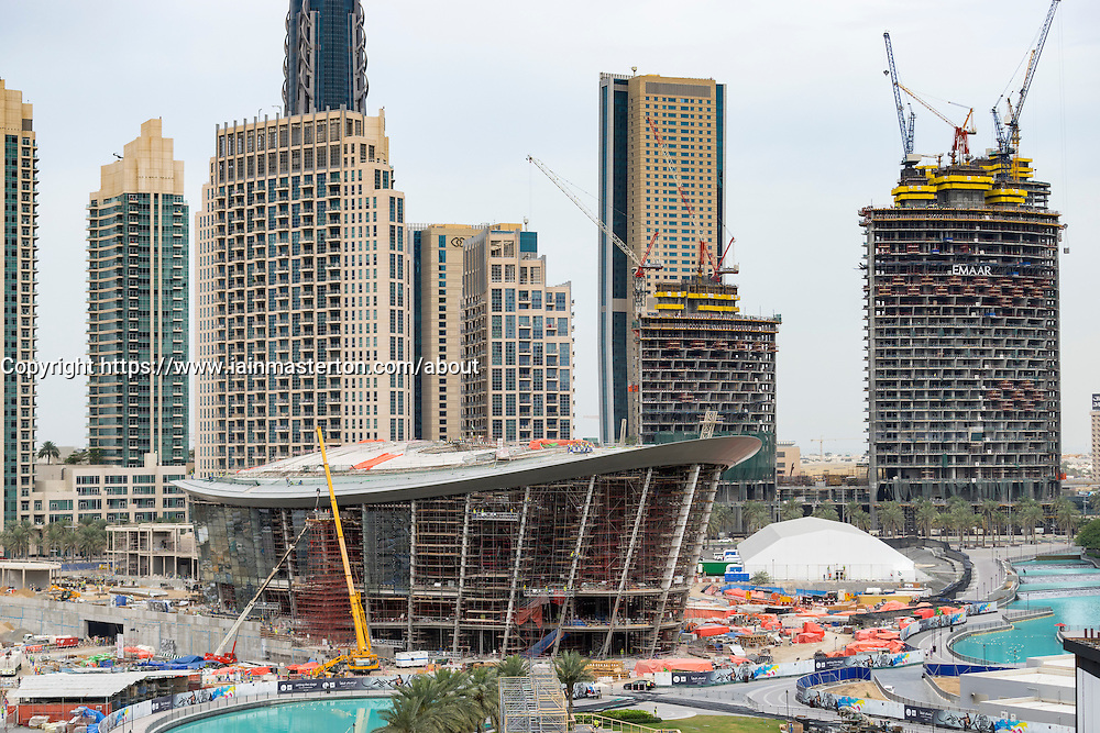 Construction site of new Opera House in Downtown Dubai United Arab Emirates