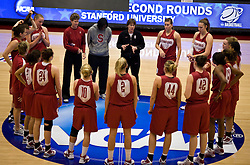 March 19, 2010; Stanford, CA, USA;  Stanford Cardinal head coach Tara VanDerveer talks to her team before the first round game of the 2010 NCAA Womens Division I Championship at Maples Pavilion.