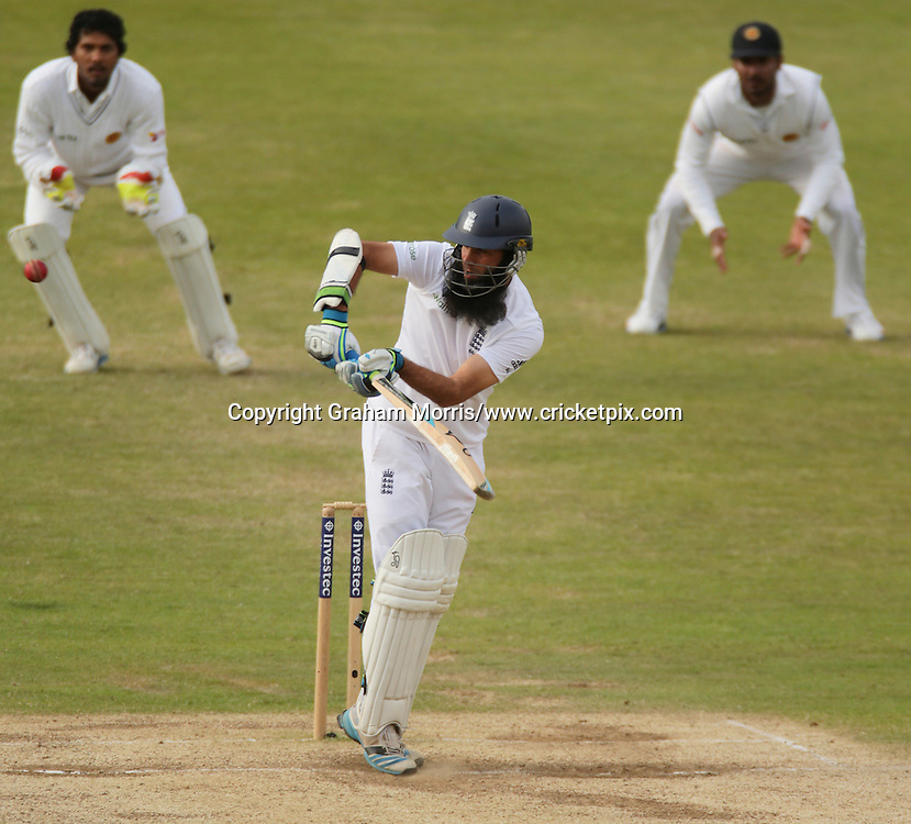 Moeen Ali reaches his maiden Test century in his second Test, the second Investec Test Match between England and Sri Lanka at Headingley, Leeds. Photo: Graham Morris/www.cricketpix.com (Tel: +44 (0)20 8969 4192; Email: graham@cricketpix.com) 24/06/14