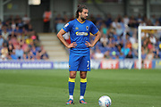 AFC Wimbledon defender George Francomb (7) about to take a free kick during the EFL Sky Bet League 1 match between AFC Wimbledon and Doncaster Rovers at the Cherry Red Records Stadium, Kingston, England on 26 August 2017. Photo by Matthew Redman.