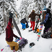 Heather Goodrich, Tyler, Owen, and Jilli Morgan pull their skins for another run in the Mount Baker backcountry.