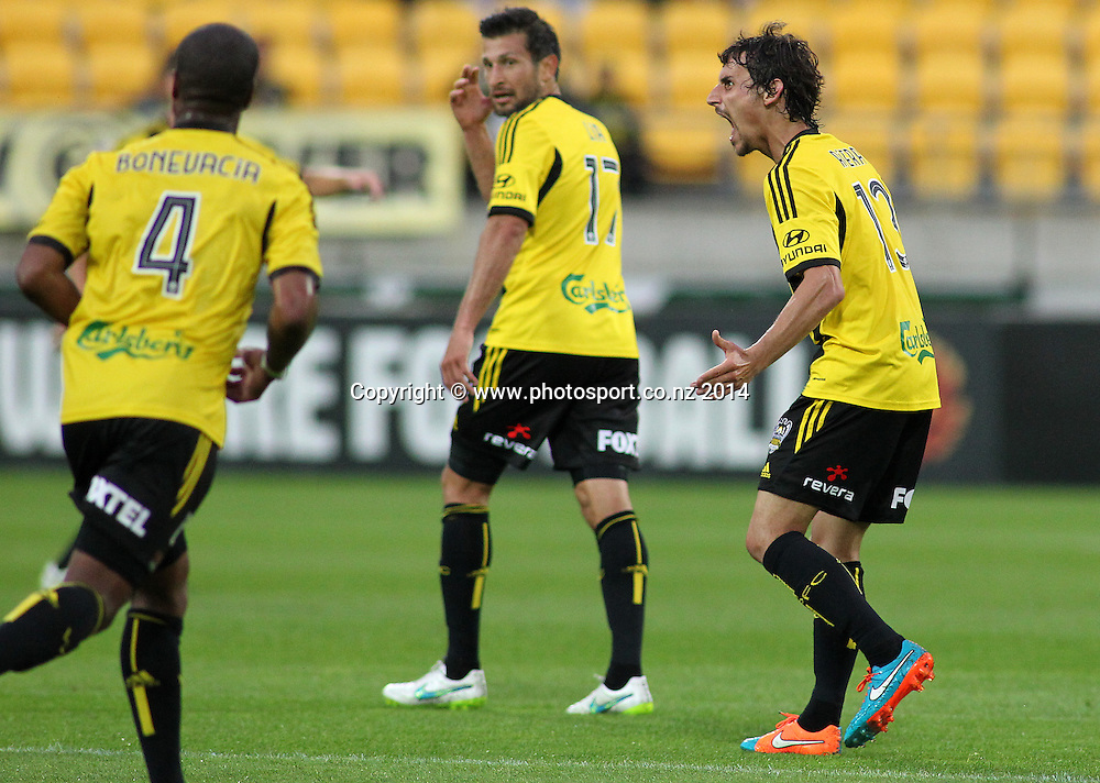 Phoenix Albert Riera appeals to the referee during the A-League football match between the Wellington Phoenix & Western Sydney Wanderers at Westpac Stadium, Wellington, 28 December 2014. Photo.: Grant Down / www.photosport.co.nz