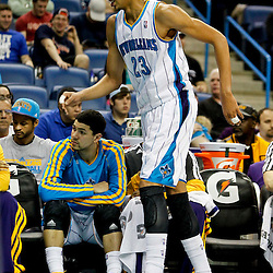 Jan 21, 2013; New Orleans, LA, USA; New Orleans Hornets power forward Anthony Davis (23) limps off the court as he heads to the locker room during  the second quarter of a game against the Sacramento Kings at the New Orleans Arena. Mandatory Credit: Derick E. Hingle-USA TODAY Sports