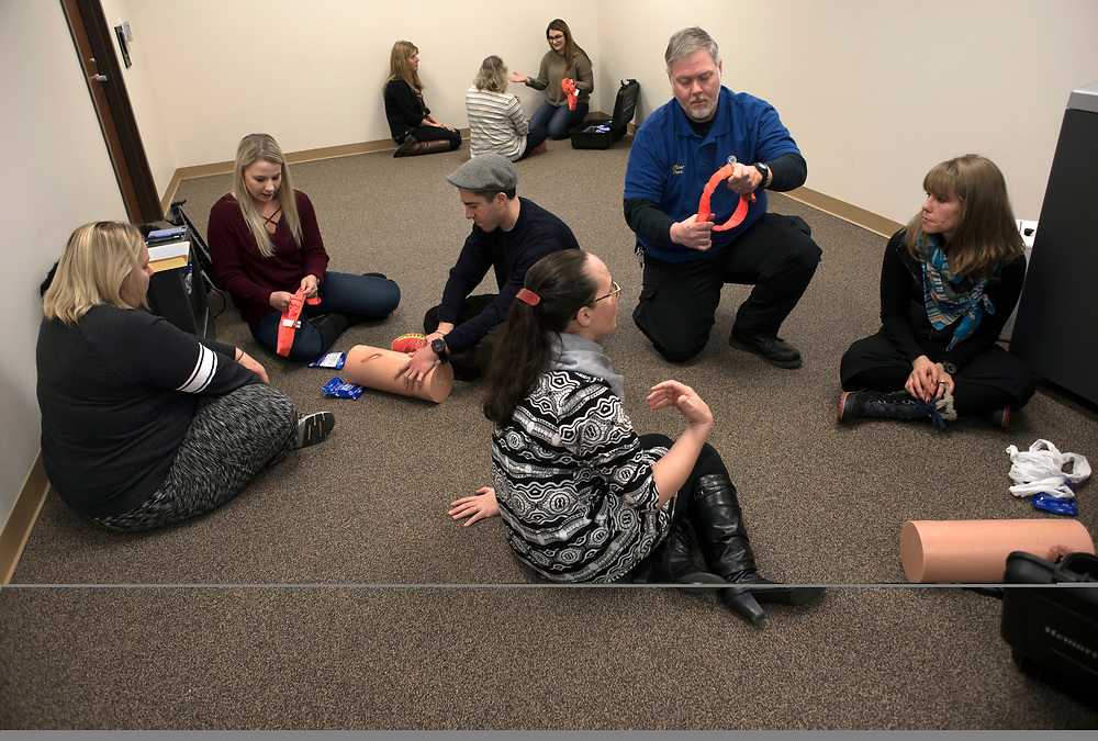 Individuals are trained in basic first aid and how to use tourniquets to prevent severe blood loss at Stop The Bleed Training at the Monroeville Public Safety Training Center. UPMC partnered with the FBI and the Jewish Federation of Greater Pittsburgh to Provide Stop the Bleed Training to Police Officers and other organizations.