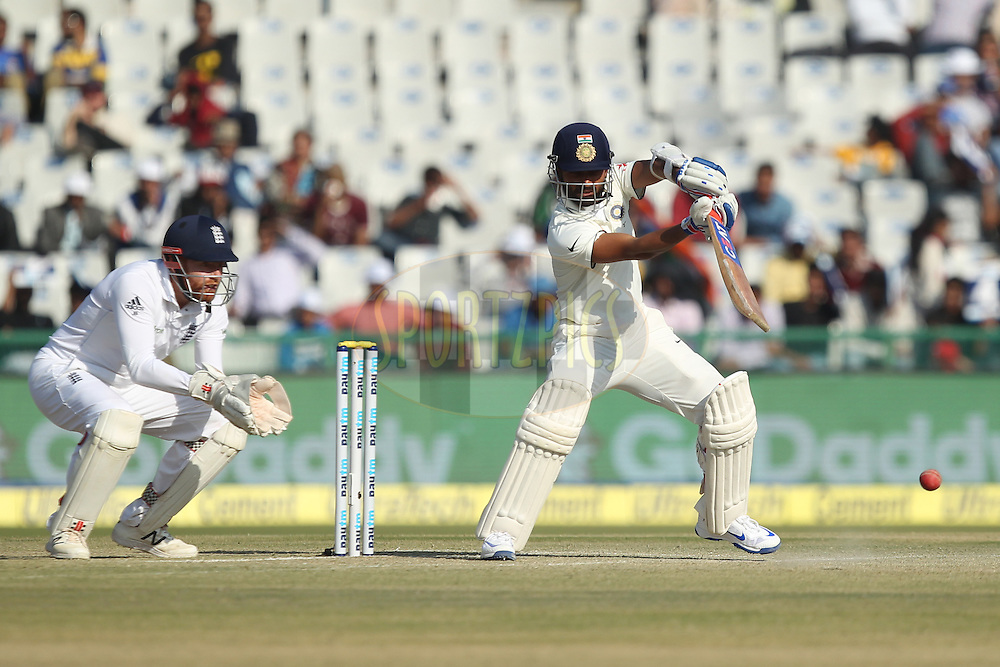 Ajinkya Rahane of India in action during day 2 of the third test match between India and England held at the Punjab Cricket Association IS Bindra Stadium, Mohali on the 27th November 2016.Photo by: Prashant Bhoot/ BCCI/ SPORTZPICS