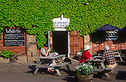 AT5BR7 Tearooms tables outdoors Snape maltings cafe Suffolk England