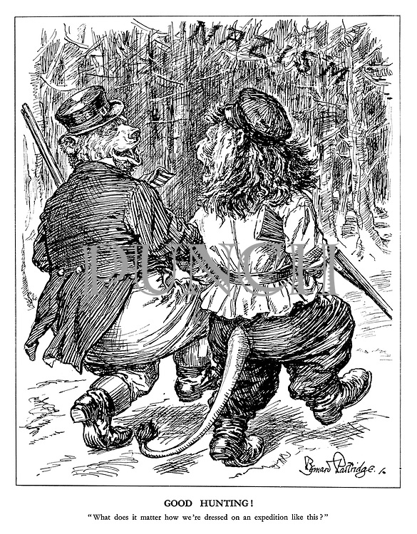 "Good Hunting! ""What does it matter how we're dressed on an expedition like this?"" (The Russian Bear and the British Lion swap clothes to show unity in a hunting expedition into the forest of Nazism)"