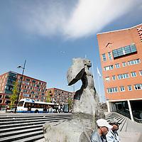 Nederland, Amsterdam , 20 mei 2010..Surinamers voor een stanbeeld op het Anton de Komplein..Foto:Jean-Pierre Jans