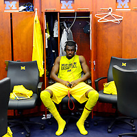 ANN ARBOR, MICHIGAN -- February 5, 2013 -- University of Michigan guard Tim Hardaway Jr. gets in the zone int he locker room on game day against rival Ohio State University in Ann Arbor, Michigan.  The Wolverines won 76-74 in overtime.   (PHOTO / CHIP LITHERLAND)