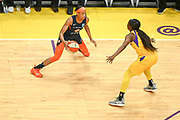 Connecticut Sun guard Jasmine Thomas (5) dribbles while Los Angeles Sparks guard Alexis Jones (1) defends during a WNBA basketball game, Friday, May 31, 2019, in Los Angeles.The Sparks defeated the Sun 77-70.  (Dylan Stewart/Image of Sport)