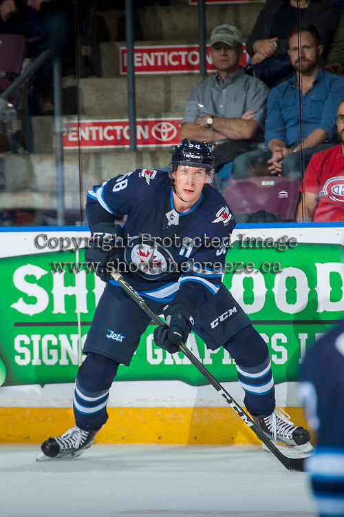 PENTICTON, CANADA - SEPTEMBER 9: Jansen Harkins #58 of Winnipeg Jets looks for the pass during first period against the Edmonton Oilers on September 9, 2017 at the South Okanagan Event Centre in Penticton, British Columbia, Canada.  (Photo by Marissa Baecker/Shoot the Breeze)  *** Local Caption ***