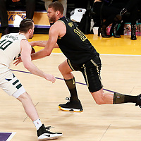 30 March 2018: Milwaukee Bucks center Marshall Plumlee (40) defends on Los Angeles Lakers center Brook Lopez (11) during the Milwaukee Bucks 124-122 victory over the LA Lakers, at the Staples Center, Los Angeles, California, USA.