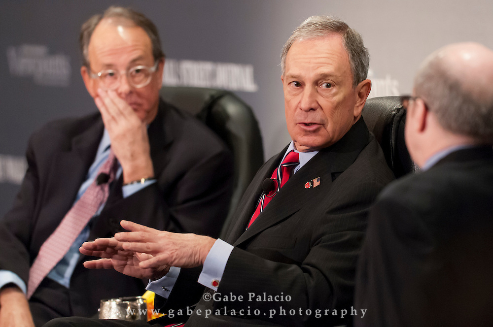 The Wall Street Journal Viewpoints Executive Breakfast Series featuring (l-r)   Erskine Bowles, Mayor Michael Bloomberg, & Alan Murray, Deputy Managing Editor and Executive Editor, online for the Wall Street Journal, at the Pierre Hotel in New York on March 29, 2012.  (photo by Gabe Palacio)
