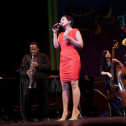 "Gretchen Parlato sings ""Chega de Saudade"" with Herbie Hancock, Wayne Shorter, and Linda Oh, at the 25th annual Thelonious Monk International Jazz Competition and ?Women, Music and Diplomacy? All-Star Gala Concert at the Kennedy Center presented by the world-renowned Thelonious Monk Institute of Jazz."