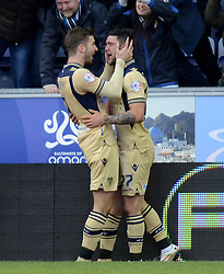 Leeds United's Alex Mowatt celebrates scoring the first goal with team-mate Luke Murphy (l) - Photo mandatory by-line: Richard Martin-Roberts/JMP - Mobile: 07966 386802 - 07/03/2015 - SPORT - Football - Wigan - DW Stadium - Wigan Athletic v Leeds United - Sky Bet Championship