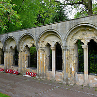 """Kohima War Memorial in York, England <br /> Roger de Pont l'Évêque became the Archbishop of York in 1154. He is credited with rebuilding York Minster after it was ravaged by fire. This arcade was constructed in the late 12th century as part of his Archbishop's Palace. In 1987, these ruins in Dean's Park were dedicated by Queen Elizabeth as the Kohima War Memorial. It is a tribute to the 1,400 Allied soldiers including members of the 2nd Division who died in the Battle of Kohima. It was the first ground offensive defeat of the Japanese in 1944. This turning point of WWII has been called """"Britain's Greatest Battle."""""""