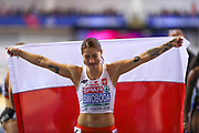 Ewa Swoboda (Poland) winner of the 60m Women Final, 1st Place, during the European Athletics Indoor Championships 2019 at Emirates Arena, Glasgow, United Kingdom on 1 March 2019.