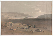 Jericho 1839, Color lithograph by David Roberts (1796-1864). An engraving reprint by Louis Haghe was published in a the book 'The Holy Land, Syria, Idumea, Arabia, Egypt and Nubia. in 1855 by D. Appleton & Co., 346 & 348 Broadway in New York.
