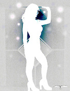 White Silhouette of female dancer in front of diamond shaped wall pattern with orbs.