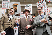 "Picture by Mark Larner. Picture shows LtoR: Michael ""Atters""Atree, Gustav Temple and Mr B. Chaps gathered outside Abercrombie & Fitch's London store to protest against the proposed opening of an A&F store on Savile Row, the centuries old home of bespoke tailoring. 23/04/2012..Press release from The Chap Magazine:-.""On Monday, 23rd April 2012 (St Georges Day) several hundred immaculately dressed Chaps and Chapettes will gather outside number 3, Savile Row, to protest in the strongest possible terms against the opening of a childrens clothes shop there by Abercrombie & Fitch.The Chap feels that this city is already overwhelmed with American-style chain stores selling overpriced T-shirts and hooded sporting garments for those who rarely do any sport. Savile Row has been the home of gentlemens bespoke tailoring for over 200 years, and the opening of this store would signal the end of this one little street being allowed to devote itself to a single trade.""."