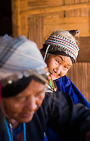 Old Thai women in traditional dress, Tha Ton, Chiang Mai Province, Thailand
