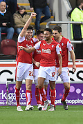 Rotherham United striker Matt Derbyshire scores to make it 1-1 as rotherham celebrta his goal  during the Sky Bet Championship match between Rotherham United and Wolverhampton Wanderers at the New York Stadium, Rotherham, England on 5 December 2015. Photo by Ian Lyall.