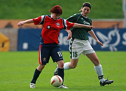 Stasa Spur of Pomurje vs Alja Krznaric of Krka at final game of NZS women football cup between ZNK Pomurje vs ZNK Krka, on June 4, 2008, at ZAK stadium in Ljubljana, Slovenia. Krka won the match 4:1 and became Slovenian Cup Champion. (Photo by Vid Ponikvar / Sportal Images)