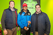 \Match sponsors with Forest Green Rovers Keanu Marsh-Brown(7) during the Vanarama National League match between Forest Green Rovers and Lincoln City at the New Lawn, Forest Green, United Kingdom on 19 November 2016. Photo by Shane Healey.